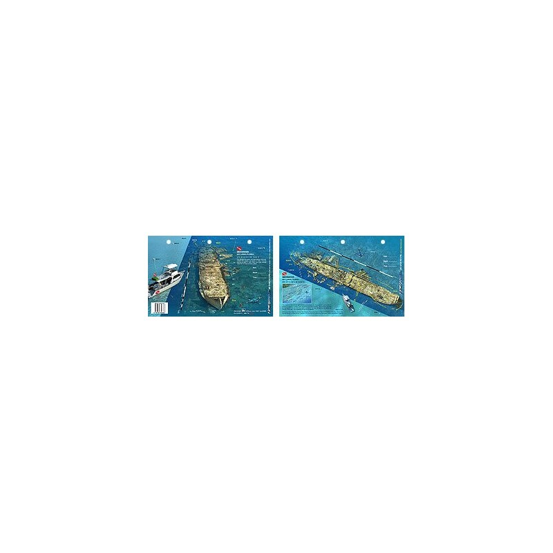 Benwood in Key Largo, Florida (8.5 x 5.5 Inches) (21.6 x 15cm) - New Art to Media Underwater Waterproof 3D Dive Site Map