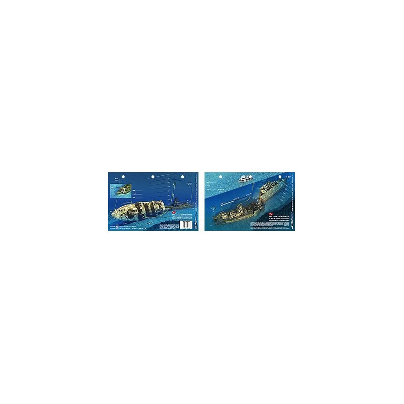 Russian Destroyer in Cayman Brac, Cayman Islands (8.5 x 5.5 Inches) - New Art to Media Underwater Waterproof 3D Dive Site Map