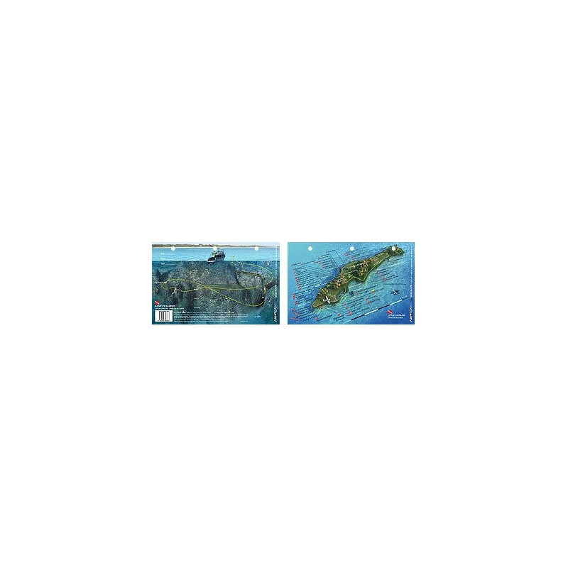 Randy`s Gazebo in Little Cayman, Cayman Islands (8.5 x 5.5 Inches) - New Art to Media Underwater Waterproof 3D Dive Site Map