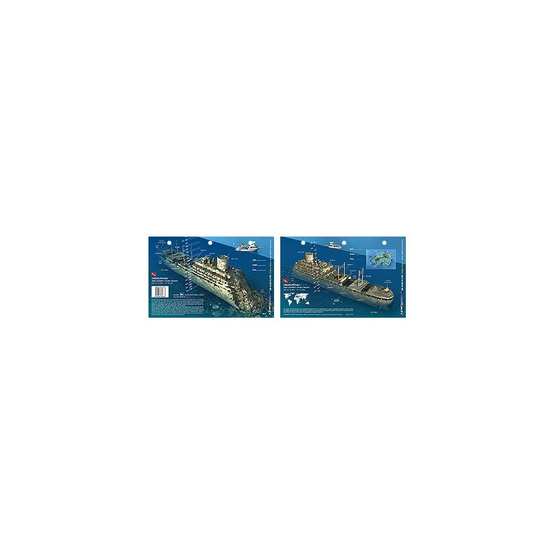 Aikoku Maru in Truk Lagoon, Micronesia (8.5 x 5.5 Inches) (21.6 x 15cm) - New Art to Media Underwater Waterproof 3D Dive Site Ma