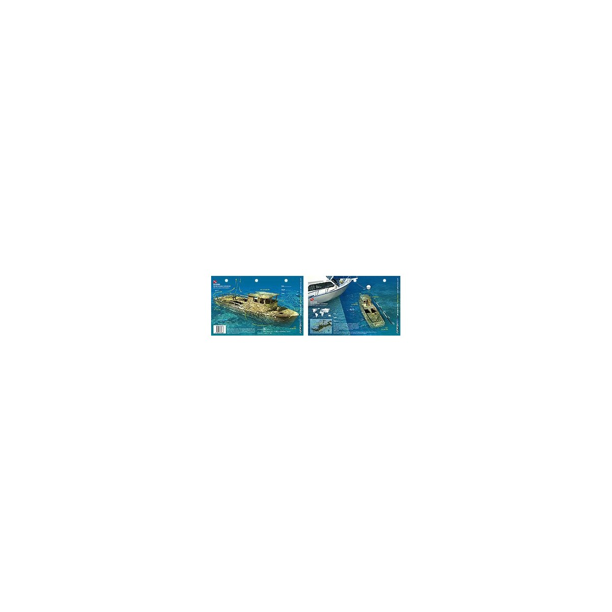 Badger Wreck in the Bahamas (8.5 x 5.5 Inches) (21.6 x 15cm) - New Art to Media Underwater Waterproof 3D Dive Site Map