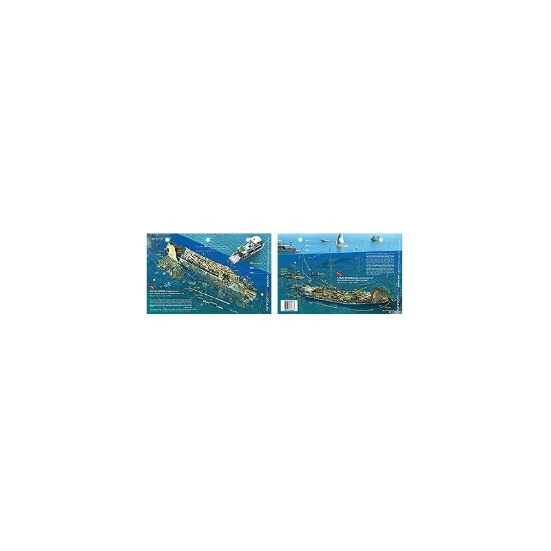Rhone Stern in British Virgin Islands (8.5 x 5.5 Inches) (21.6 x 15cm) - New Art to Media Underwater Waterproof 3D Dive Site Map
