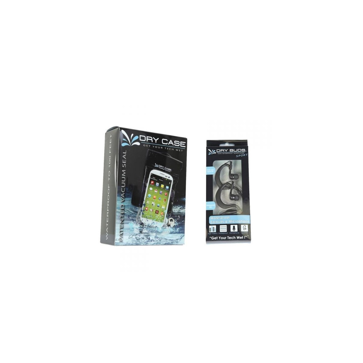 DryCASE (DC-13) Waterproof Electronics Case & DryBUDS (DB-26) Fusion Waterproof Earbuds Sport Combo