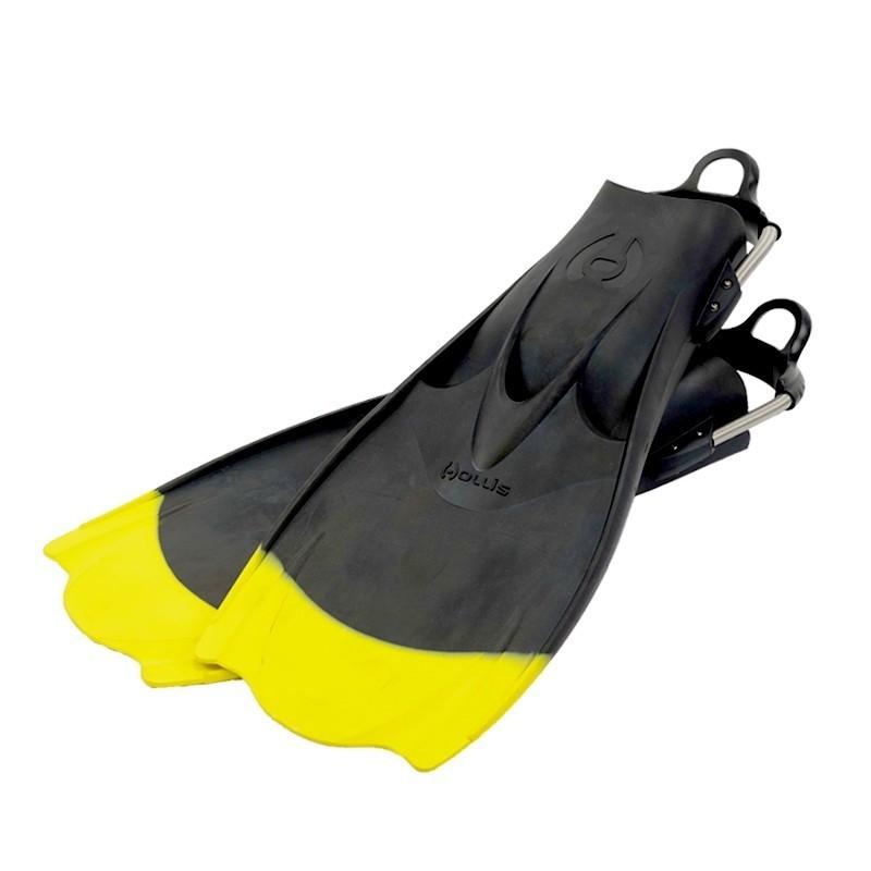 """Hollis F1 """"BAT FIN"""" Yellow Tip Vented Blade Open Heel Diving Fin"""