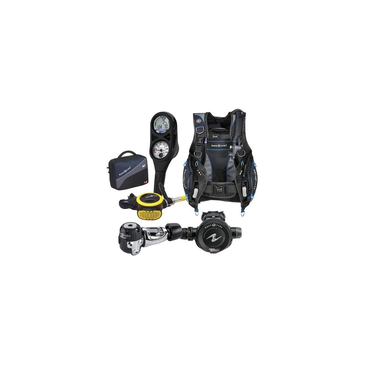 Aqua Lung Pro HD BCD, i300 2 Gauge Dive Computer, Titan / ABS Regulator Set with Regulator Bag Gear Package