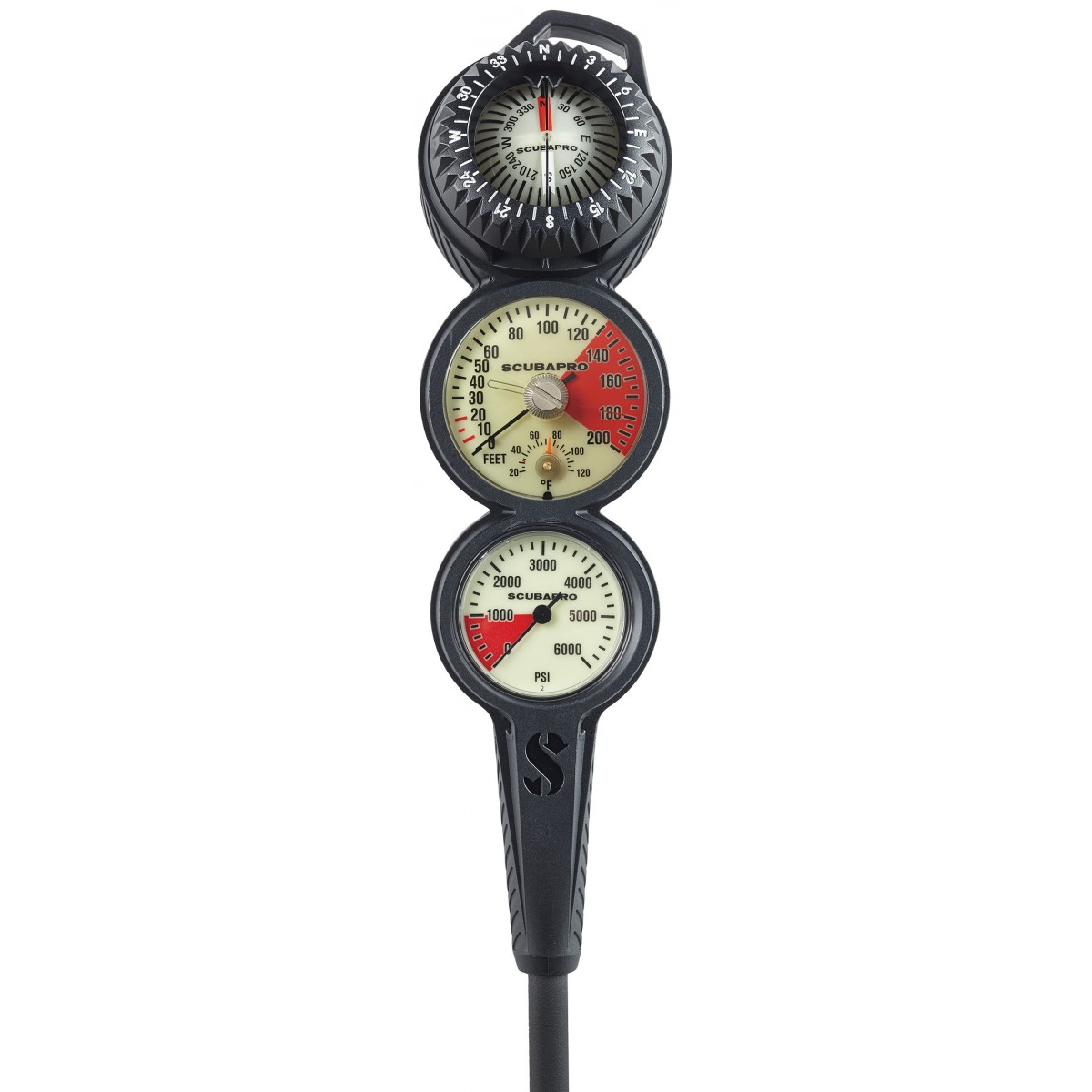 Scubapro 3 GAUGE IN-LINE CONSOLE With FS-2 COMPASS