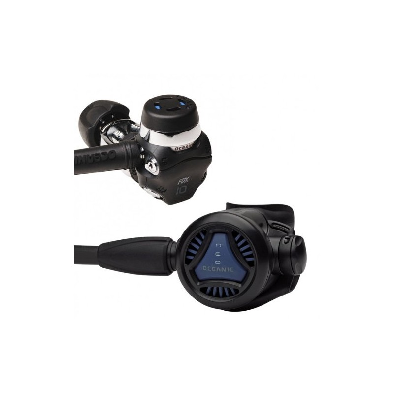New Oceanic Neo FDX-10 DVT Scuba Diving Yoke Regulator With FREE Upgrade To 30 Inch (76.2cm) Black MaxFlex Braided Hose